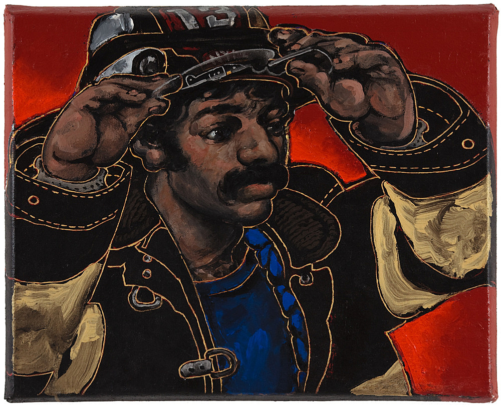 "Martin Wong – ""Fireman"", c. 1990 acrylic on canvas 50 x 66 cm"