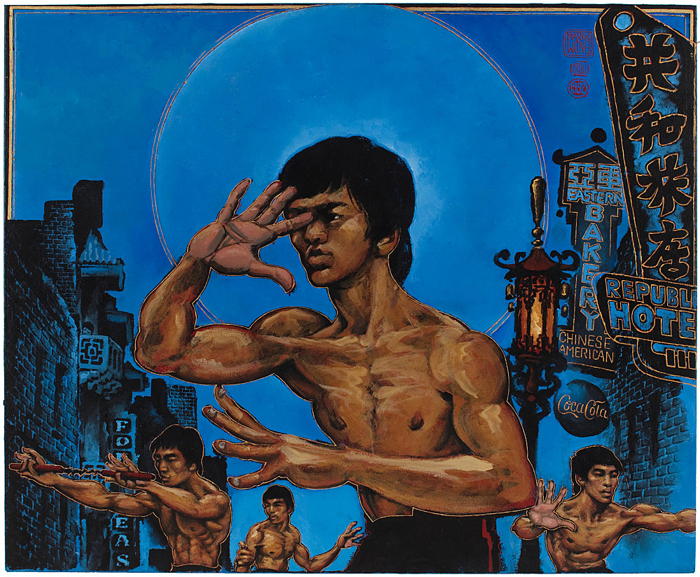 "Martin Wong – ""Clones of Bruce Lee"", 1992 acrylic on canvas 114 x 139 cm"