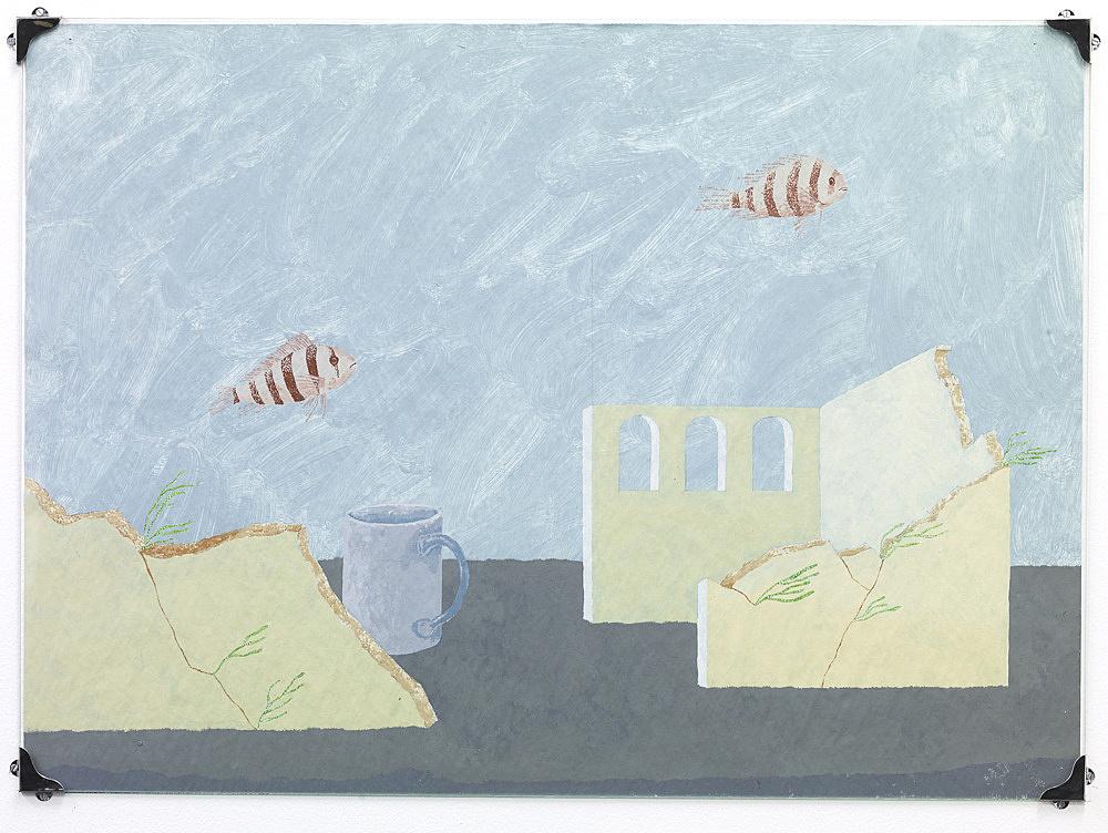 "Nick Austin – ""Aquarium"", 2009 acrylic on newspaper, glass, metal 57,5 x 79 cm"