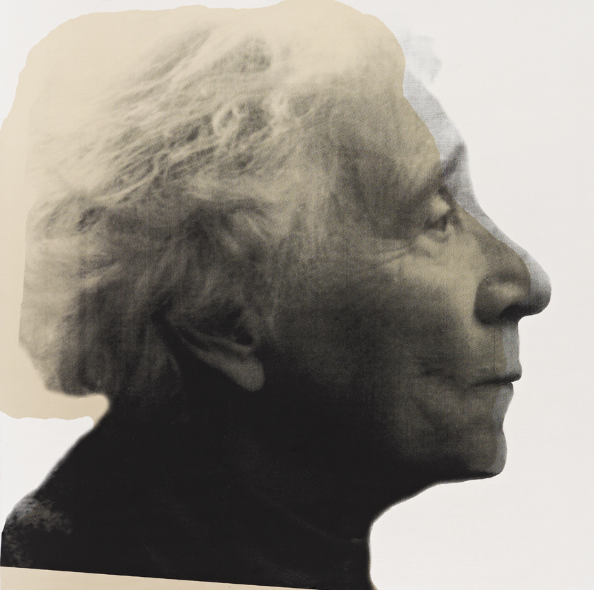 "R.H. Quaytman – ""Cherchez Holopherne, Chapter 21"", 2011 oil, silkscreen ink, gesso on wood 50.8 x 50.8 cm"