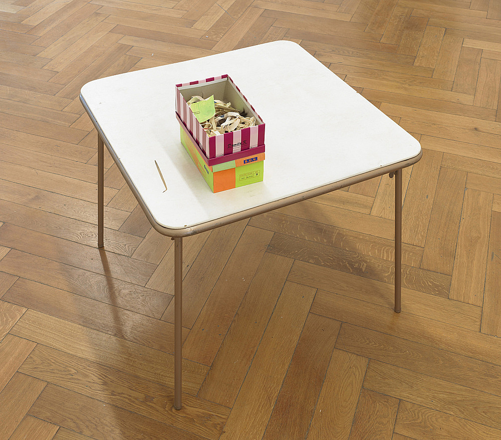 """Richard Hawkins – """"Scalps 9/10 (Remember the wonderful days when """"the pathetic"""" was a """"subversion of power""""?)"""", 2011 rubber masks, painted paper, paperclips and shoeboxes on card table table: 70 x 89 x 89 cm boxes: 10 x 16 x 29 cm; 12 x 18 x 27,5 cm"""