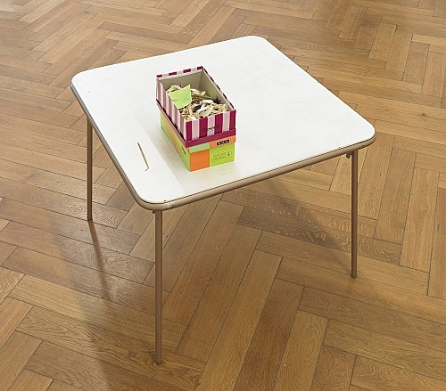 "Richard Hawkins – ""Scalps 9/10 (Remember the wonderful days when ""the pathetic"" was a ""subversion of power""?)"", 2011 rubber masks, painted paper, paperclips and shoeboxes on card table table: 70 x 89 x 89 cm boxes: 10 x 16 x 29 cm; 12 x 18 x 27,5 cm"