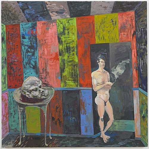 "Richard Hawkins – ""Salome painting: Head of the table"", 2011 oil on canvas 76 x 76 cm"