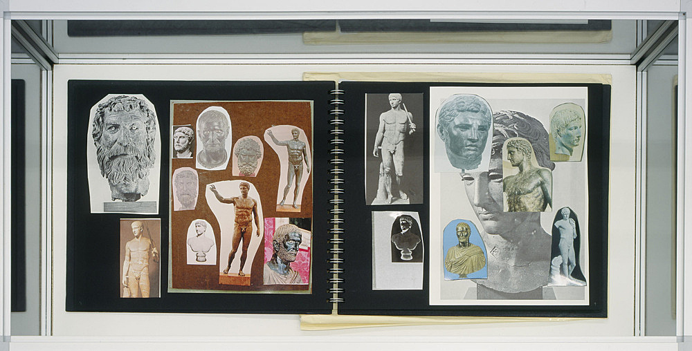 """Richard Hawkins – """"Urbis Paganus III. 15"""", 2006 collaged artist book, 32 pages with collaged envelope 30 x 33,5 cm"""