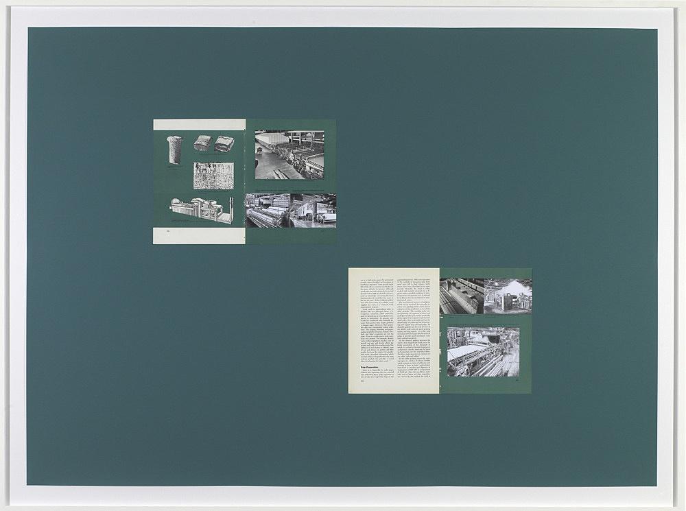 "Sam Lewitt – ""Printing Progress: 1959"", 2008 collage, screenprint, book pages, graphite 100 x 140 cm"
