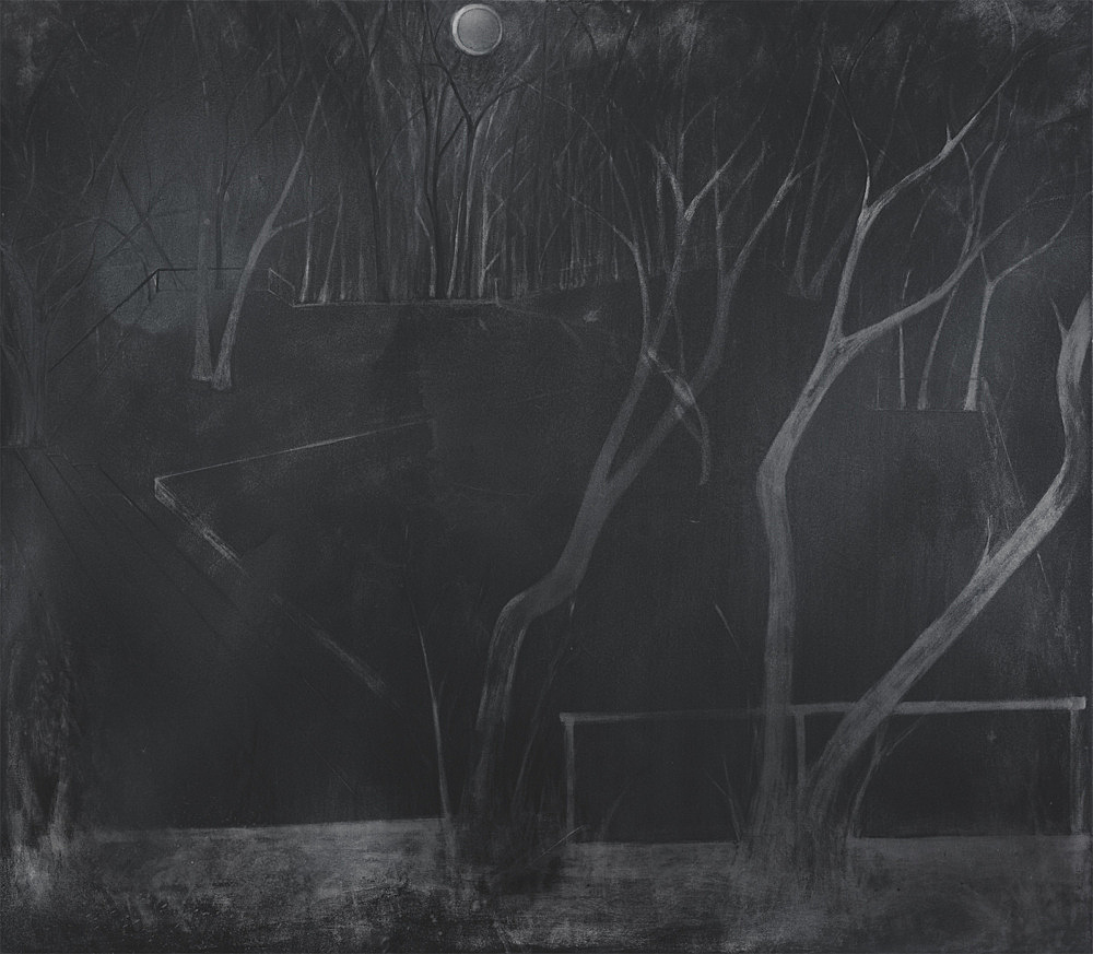 "Silke Otto-Knapp – ""Stage (moonlit)"", 2011 watercolour and gouache on canvas 140 x 160 cm"