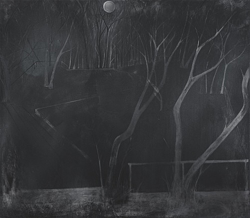 "Silke Otto-Knapp – ""Stage (moonlit)"", 2011 watercolour and gouache on canvas 140 x 160 cm"