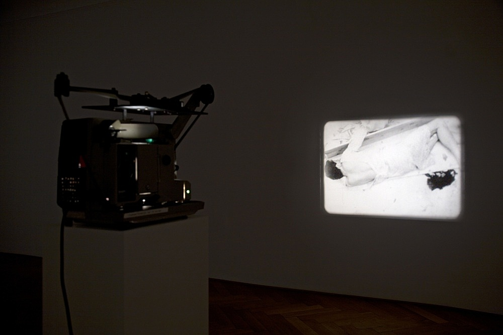 "Tony Conrad – ""Re-Framing Creatures"", 1963-2009 one of five 16-mm loops, II.: 2' 22'' installation view Galerie Daniel Buchholz, Berlin 2009"