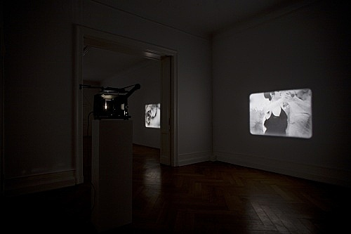 "Tony Conrad – ""Re-Framing Creatures"", 1963-2009 two of five 16-mm loops II.: 2' 22'', III.: 2' 52'' installation view Galerie Daniel Buchholz, Berlin 2009"