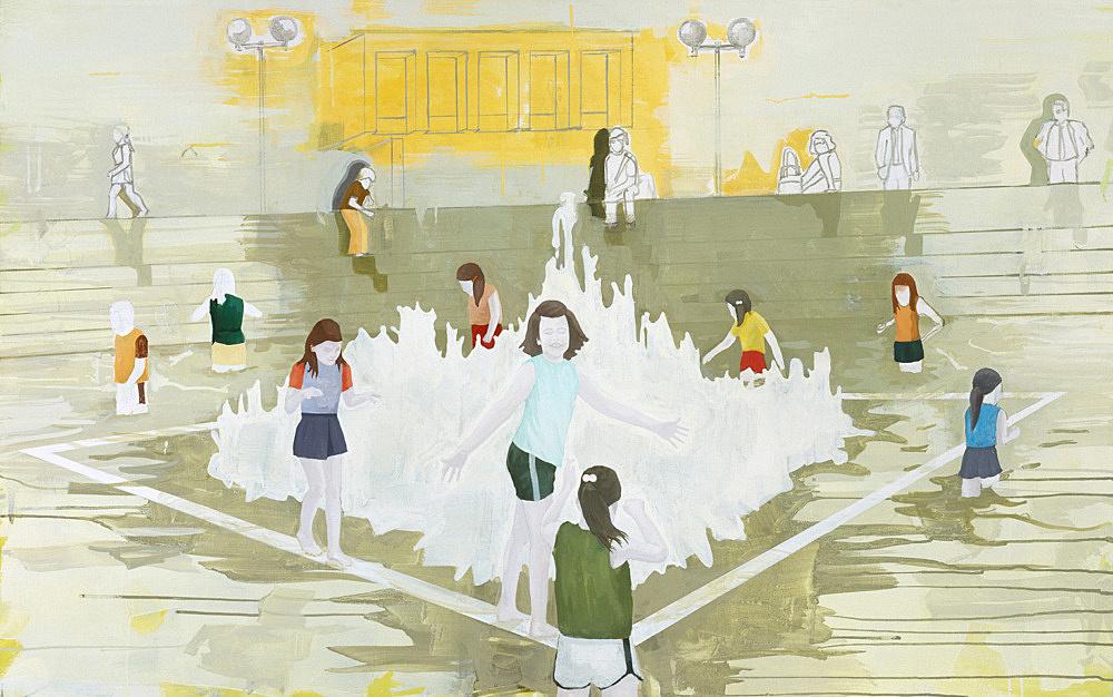 """Thomas Eggerer – """"The Fountain"""", 2002 acrylic on canvas 101.5 x 161.5 cm"""