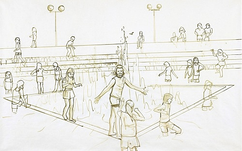 """Thomas Eggerer – """"The Fountain"""", 2002 acrylic and pencil on paper 108.5 x 170.5 cm"""
