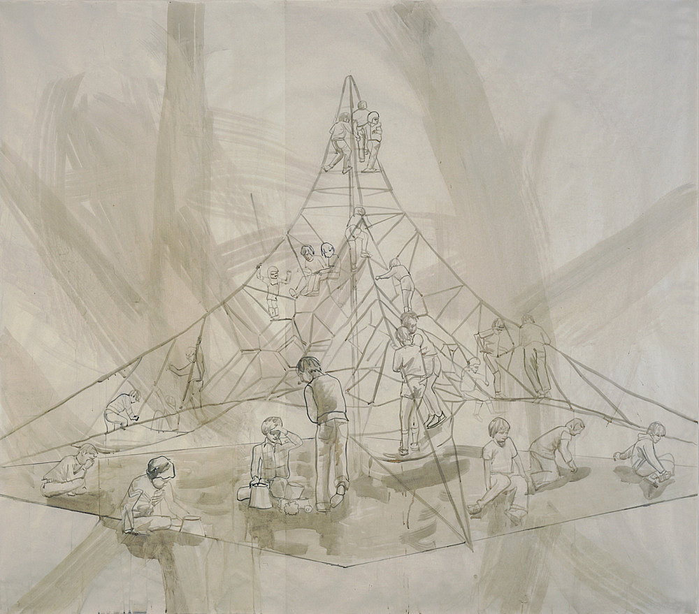 """Thomas Eggerer – """"Drawing for Into thin Air I"""", 2005 acrylic and pencil on paper 181 x 208 cm"""