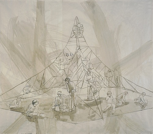 "Thomas Eggerer – ""Drawing for Into thin Air I"", 2005 acrylic and pencil on paper 181 x 208 cm"