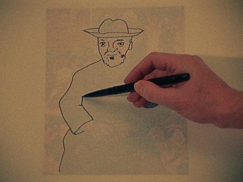 "Jack Goldstein – ""A Set of ten 16mm-films"", 1974-1978 ""The Portrait of Pere Tanguy"", 1974 16mm, color, 4' filmstill"