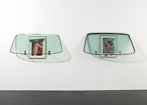 "Isa Genzken – ""Windscreen 1"", 2008 glass, colour print (framed, wood), tape, metal, rubber 68 x 148 x 38 cm & ""Windscreen 2"", 2008 glass, colour print (framed, wood), tape, metal, rubber 68 x 148 x 38 cm"