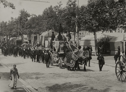 "– ""The funeral of Marguerite Roussel in Paris"", October 1911 b/w photograph"
