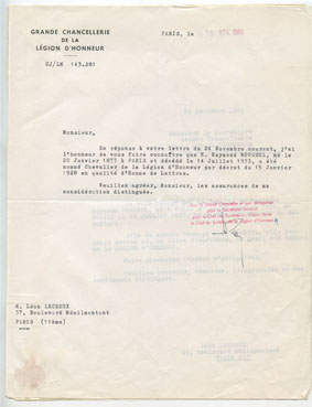 "– ""Letter from the Grande Chancelliere de La Légion D'Honneur"", Paris, November 30th, 1966 typewriter, ink on paper 27 x 21 cm"