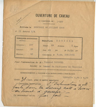 "– ""Ouverture de Caveau"", July 26th, 1933 typewriter, ink on paper 21,2 x 18,2"