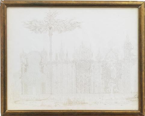 """Victorien Sardou – """"La Maison du Prophéte Elie"""", ca. 1860 ink drawing"""