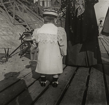 "– ""Raymond Roussel's mother Marguerite and his nephew, Robert de Breteuil on the beach in Dieppe, Normandy"", ca. 1900