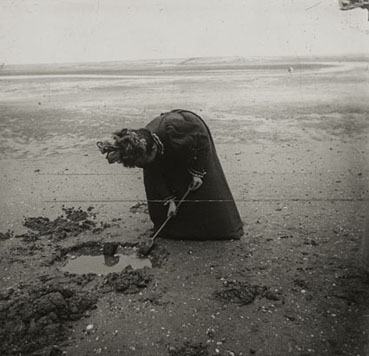 "– ""Raymond Roussel's sister Germaine on the beach in Dieppe, Normandy"", ca. 1900