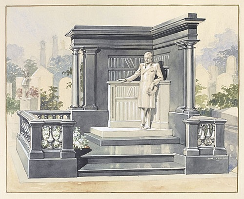 "Lecreux Frères – ""Sketch of a unrealized tombstone for Raymond Roussel at Père-Lachaise cemetery"", ca. 1932 watercolor on paper 63 x 52,5 cm"