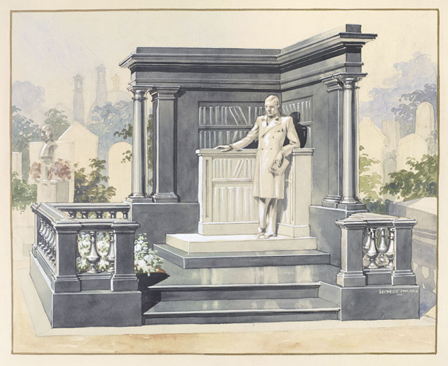 """Lecreux Frères – """"Sketch of a unrealized tombstone for Raymond Roussel at Père-Lachaise cemetery"""", ca. 1932 watercolor on paper 63 x 52,5 cm"""