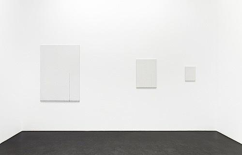 "Florian Pumhösl – ""Cliché 12"", 2012 3 parts, stamping with oil paint on ceramic plaster 146,5 x 102,5 x 2 cm 73,4 x 51,4 x 2 cm 36,6 x 25,6 x 2 cm installation view, Galerie Buchholz, Köln 2013"
