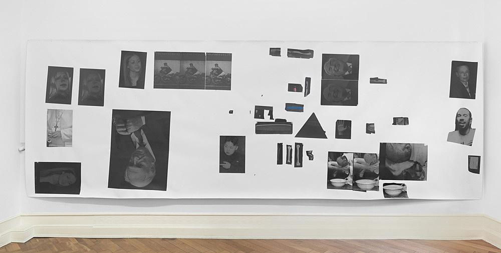 "Henrik Olesen – ""Hysterical Men 2"", 2013 canvas, inkjet print on Proof Paper ZP 55 (Newspaper), 55 gouache /m2, Amsterdam Gel Medium Matt Glue 204 x 585 cm"