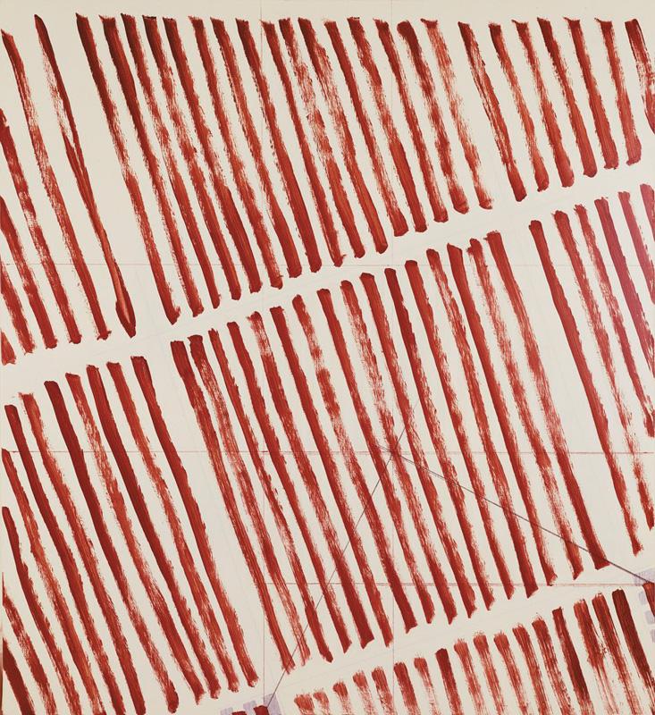 """Martin Barré – Martin Barré """"75-76-D-157×145"""", 1975 – 1976 acrylic on canvas 157 x 145 x 2.2 cm"""