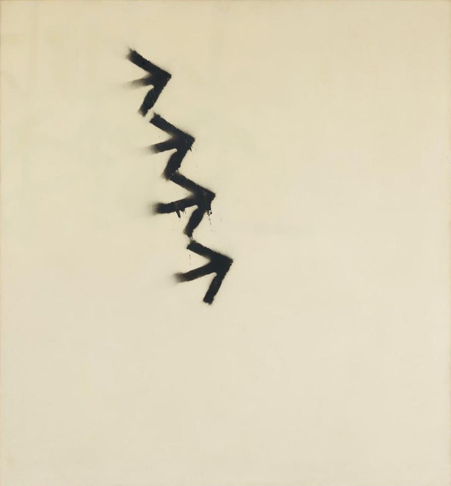 """Martin Barré – Martin Barré """"67-F-5-113×105"""", 1967 acrylic and spraypaint on canvas 113 x 105 x 2 cm"""