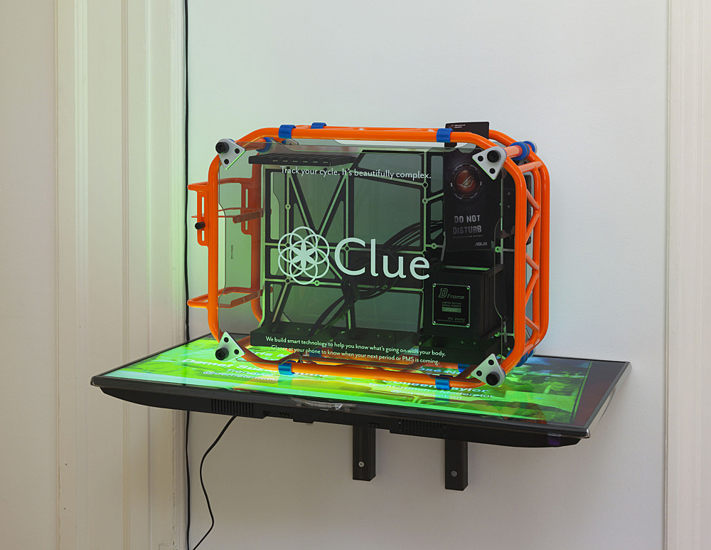 "Simon Denny – ""Berlin Startup Case Mod: Clue"", 2014 custom computer case with digital prints, metal fittings, Samsung UE40F6500 SS, video on USB stick 78 x 91 x 54 cm"