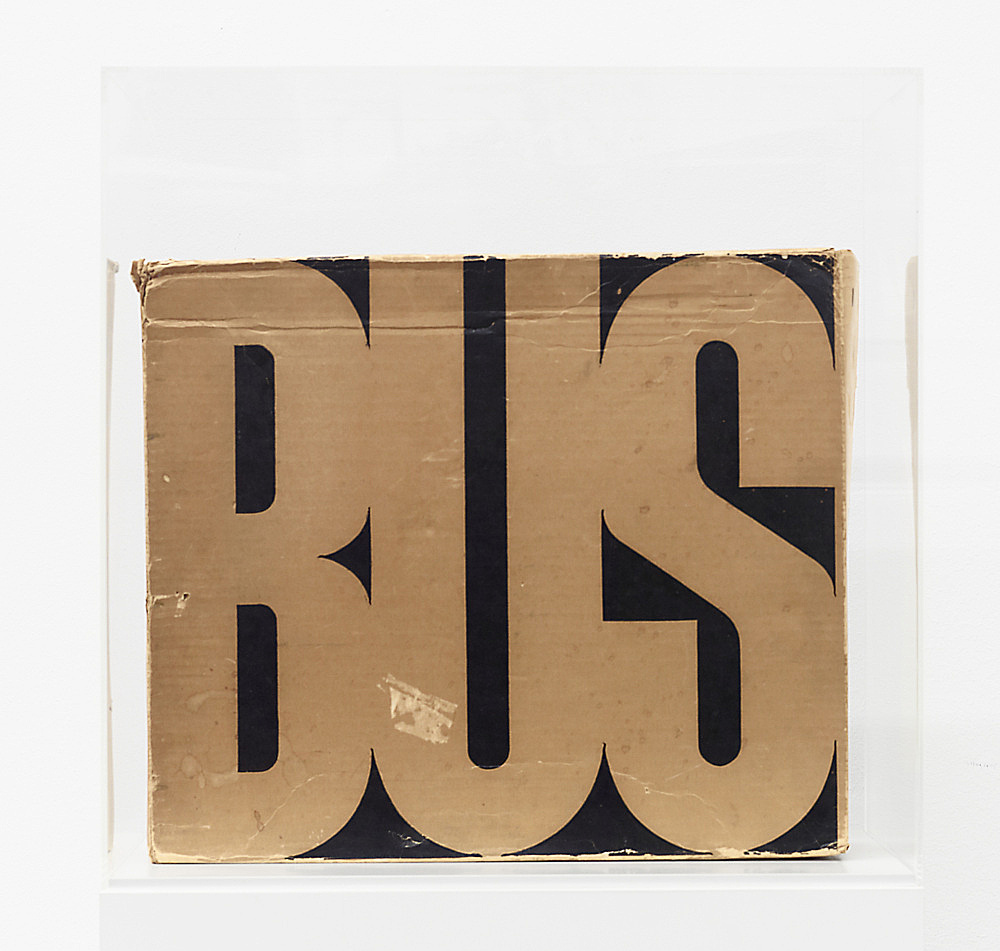 "Mason Williams – ""Bus"", 1967 Blockbuster Bus Book Company, Beverly Hills, Ca Life-size photograph of a greyhound bus – when unfolded the massive photograph measures 324,5 x 11,10 cm and weighs 4,7 kg. Folded and housed in original fiberboard box, designed by Bob Willis."