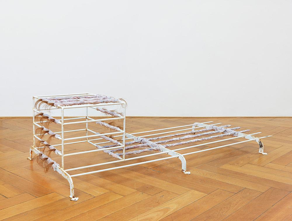 """Stewart Uoo – """"Security Window Grill III"""", 2014 steel, enamel, rust, silicone, acrylic varnish, human hair 192 x 53 x 103 cm"""
