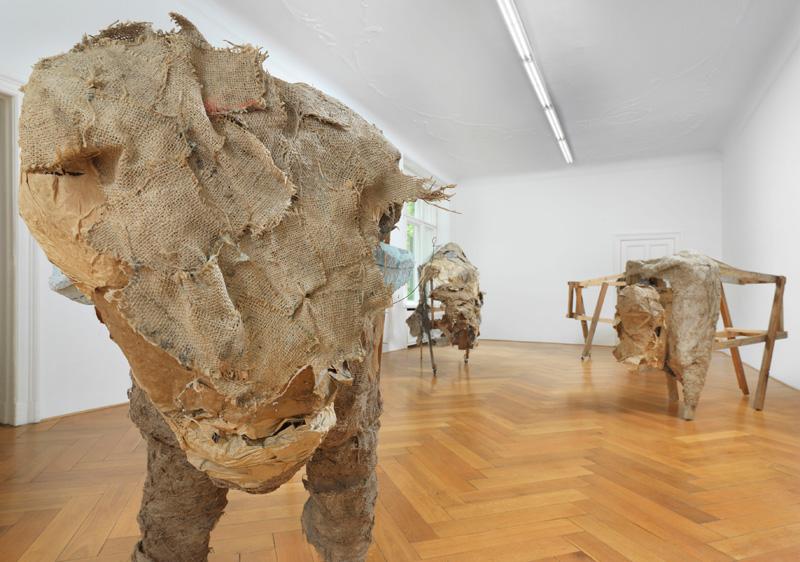 """Lutz Bacher – """"Bison"""", 2012 paper, paints, glue, burlap, chicken wire, wood, wheels dimensions variable"""