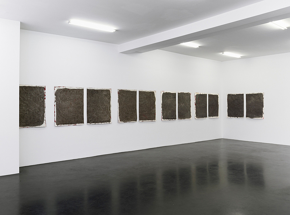 """Lutz Bacher – """"Gray Paintings (Loxodonta)"""", 2013 paint on raw canvas 11 parts (5 diptychs plus one single part) overall dimensions variable 98 x 75 cm 98 x 81 cm and 98 x 78 cm 98 x 71 cm and 98 x 72.5 cm 98 x 74 cm and 98 x 72 cm 98 x 77 cm and 98 x 74 cm 98 x 74.5 cm and 98 x 71.5 cm"""