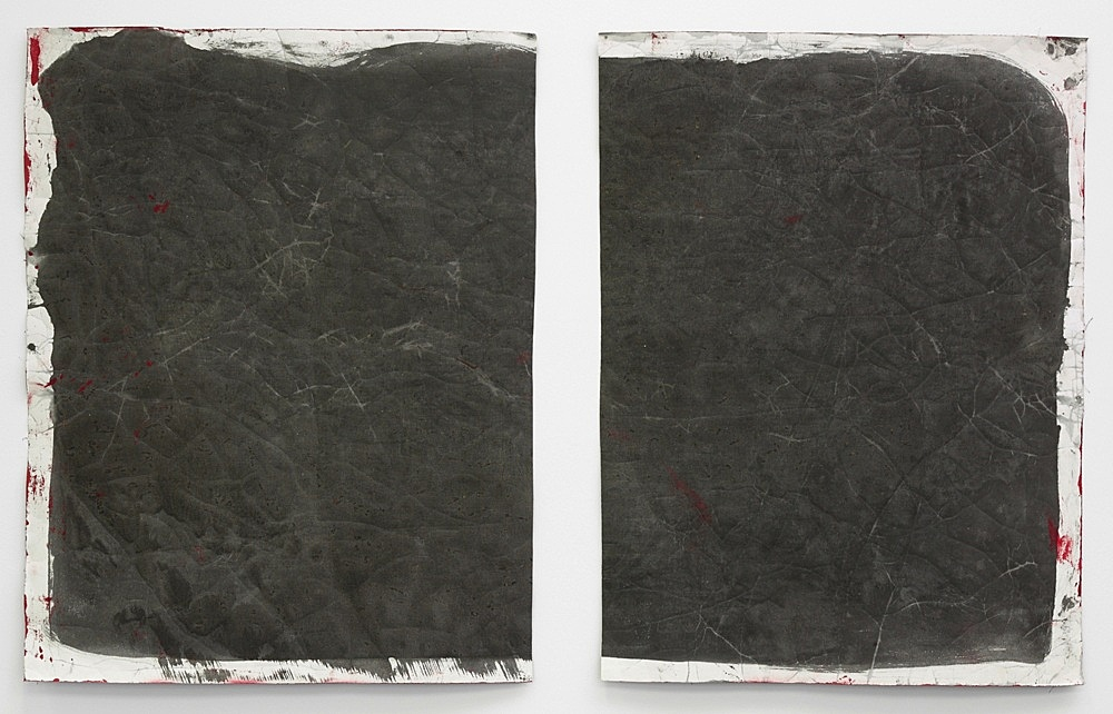 """Lutz Bacher – """"Gray Paintings (Loxodonta)"""", 2013 paint on raw canvas 2 parts, 98 x 76 cm and 98 x 73 cm"""
