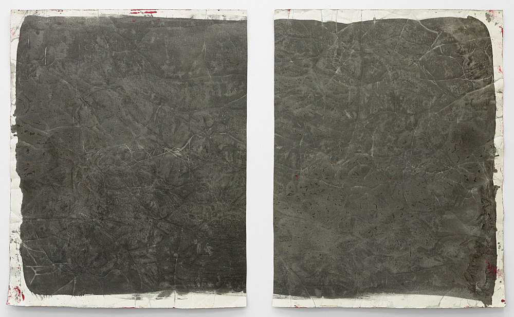 """Lutz Bacher – """"Gray Paintings (Loxodonta)"""", 2013 paint on raw canvas 2 parts, 98 x 78 cm and 98 x 75 cm"""