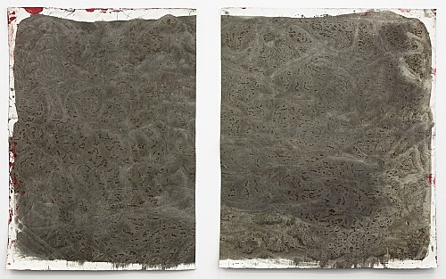 """Lutz Bacher – """"Gray Paintings (Loxodonta)"""", 2013 paint on raw canvas 2 parts, 98 x 80 cm and 98 x 79 cm"""