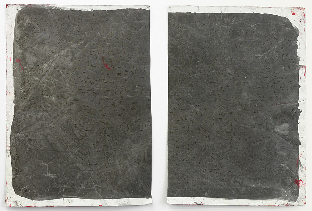 """Lutz Bacher – """"Gray Paintings (Loxodonta)"""", 2013 paint on raw canvas 2 parts, 98 x 71 cm and 98 x 70 cm"""
