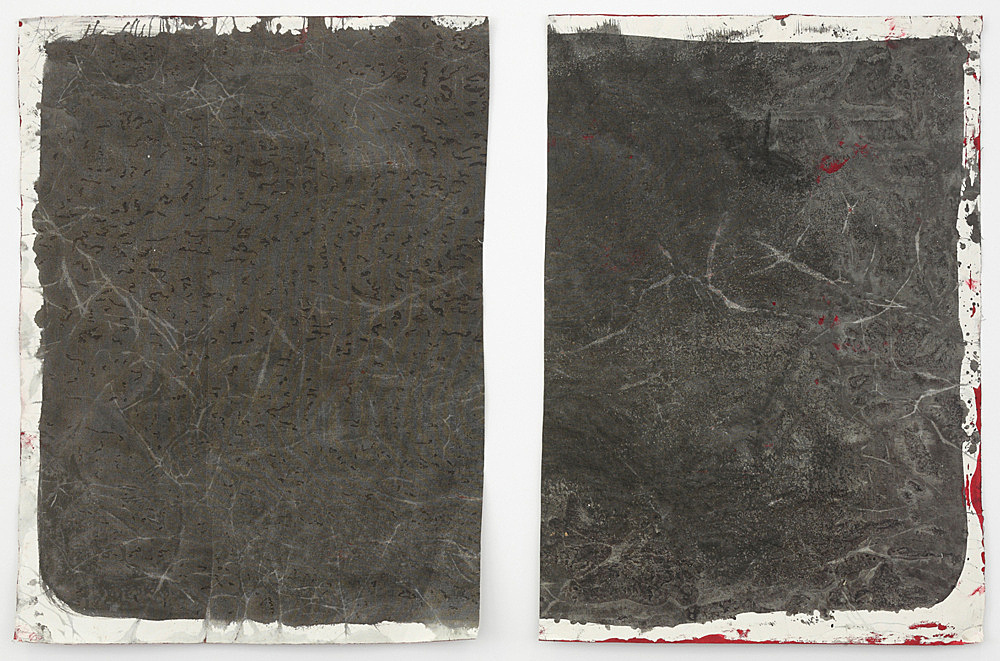 """Lutz Bacher – """"Gray Paintings (Loxodonta)"""", 2013 paint on raw canvas 2 parts, 98 x 72.5 cm and 98 x 69 cm"""
