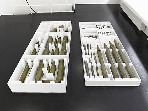 "Lutz Bacher – ""Organ Pipes"", 2014 tin, foam, foam core part 1: 27 x 270 x 102 cm part 2: 15.5 x 270 x 101 cm"