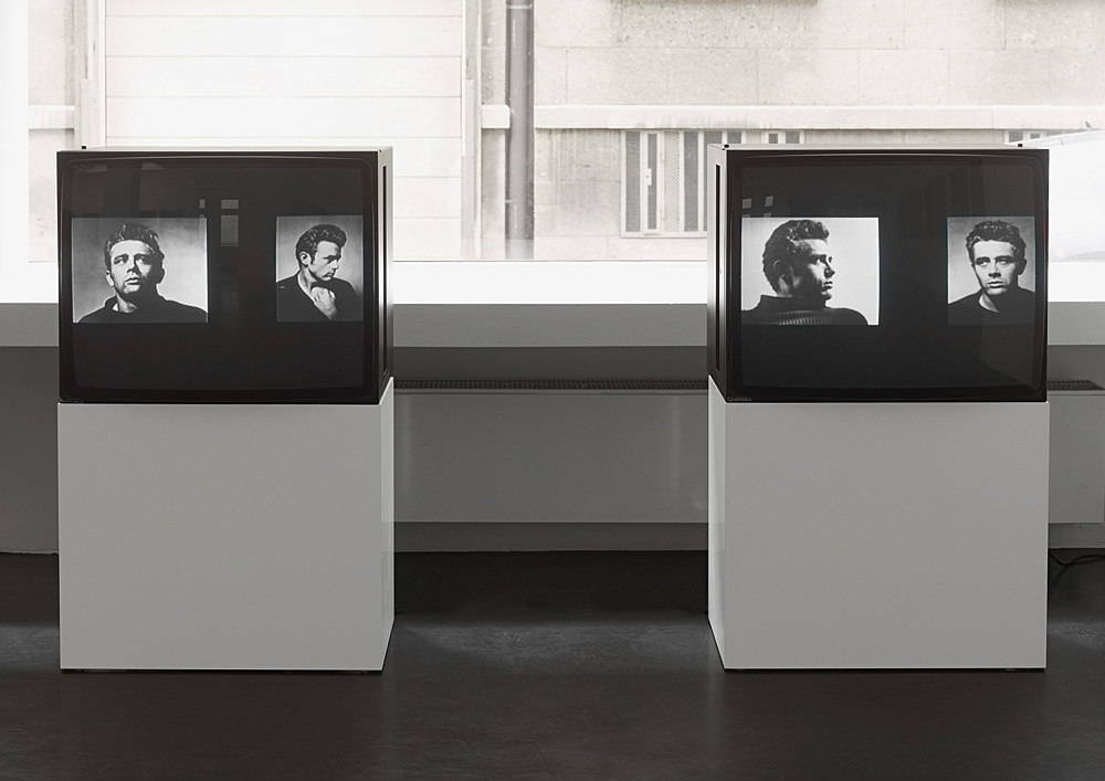 """Lutz Bacher – """"James Dean"""", 1986 video slideshow, 16 paired slides shown on two monitors dimensions variable"""