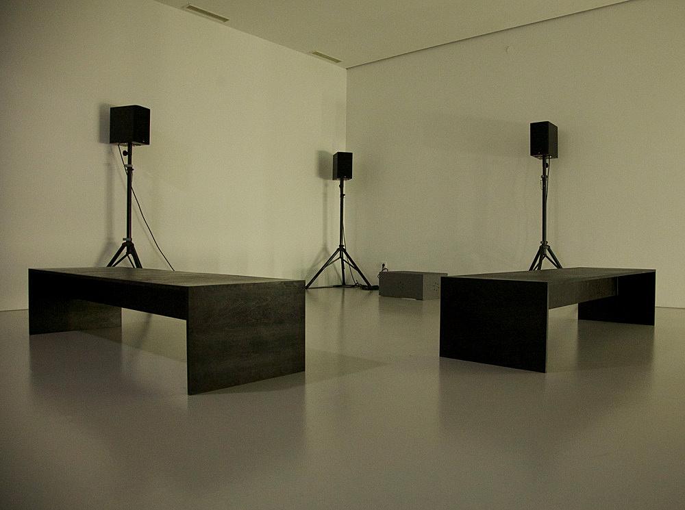 "Willem de Rooij – ""Farafra"", 2012 digital audio recording, 3 speakers, amplifier, DVD player, 13'5"" installation view Art Basel, Art Unlimited 2013"