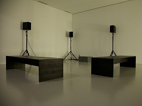 "Willem de Rooij – ""Farafra, 2012"" digial audio recording, 3 speakers, amplifier, DVD player, 13'5'' installation view Art Basel, Art Unlimited 2013"
