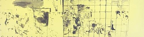 """Cosima von Bonin Sergej Jensen Michael Krebber – """"Das große Portemonnaie II & III"""", 2014 Acryl auf Baumwolle 100 x 390 cm"""