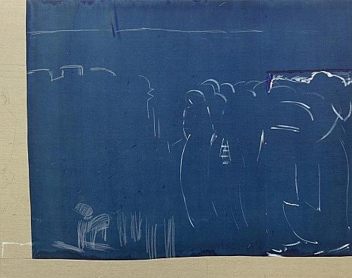 "Cosima von Bonin Sergej Jensen Michael Krebber – ""Das große Portemonnaie I (no future)"", 2014 Acryl, Kreide, Kohle auf genähtem Leinen 2 Teile: je 200 x 260 cm Detail"