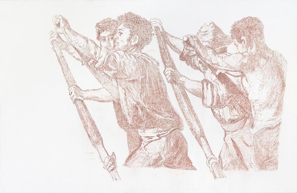 """Cosima von Bonin Sergej Jensen Michael Krebber – """"Wenn das Licht am Ende des Tunnels bloss kein Zug ist"""", 2014 Rötel auf Leinwand 180 x 280 cm"""