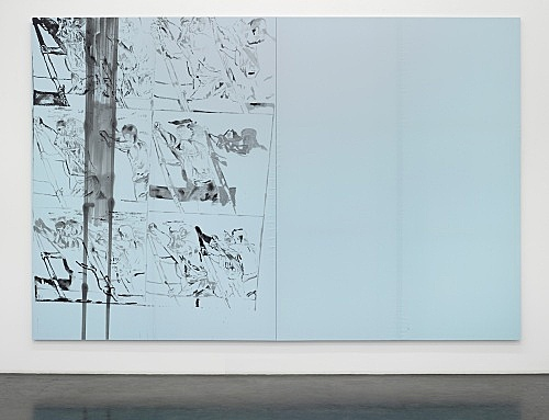 """Cosima von Bonin Sergej Jensen Michael Krebber – """"Das blaue Desaster"""", 2014 Acryl auf genähter Baumwolle 2 Teile, je 260 x 200 cm"""
