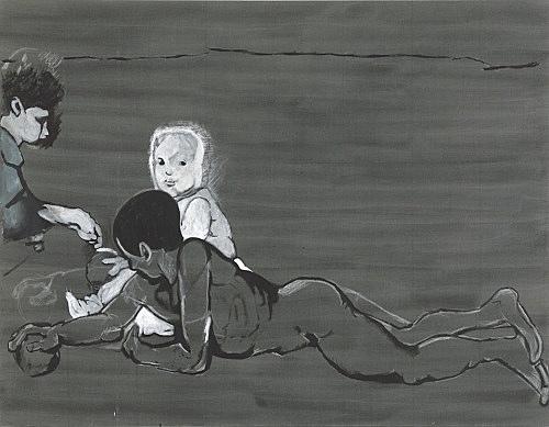 """Cosima von Bonin Sergej Jensen Michael Krebber – """"Kollaboration und Missbrauch"""", 2014 Acryl und Kreide auf Leinen 165 x 212 cm"""